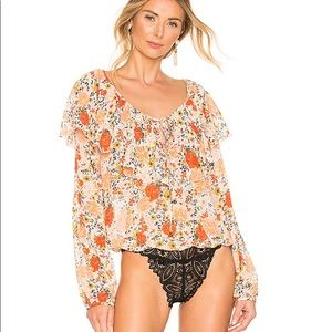 Free People: Ivory Combo Floral Bodysuit